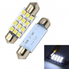 Merdia Festoon 39mm 1.8W 60lm 12 x SMD 3528 LED White Car Brake / Backup Light - (12V / 2 PCS)