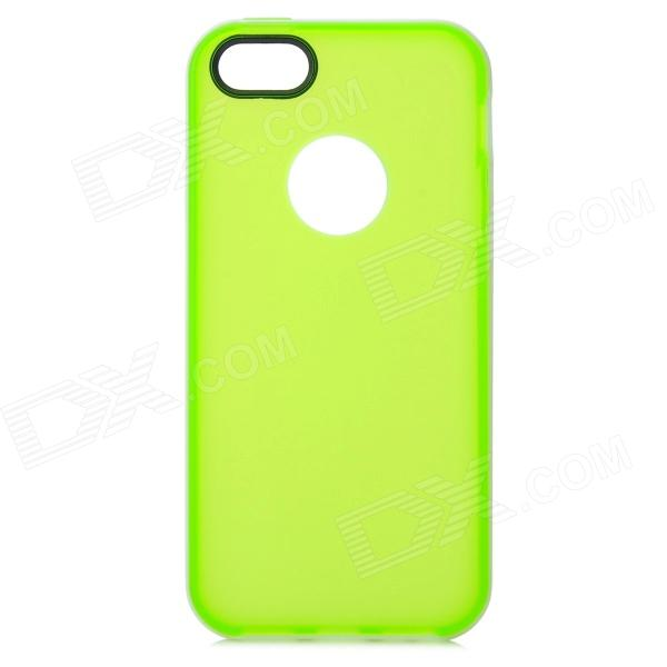 S-What Protective Matte TPU + PC Back Case for IPHONE 5 / 5S - White + Translucent Green