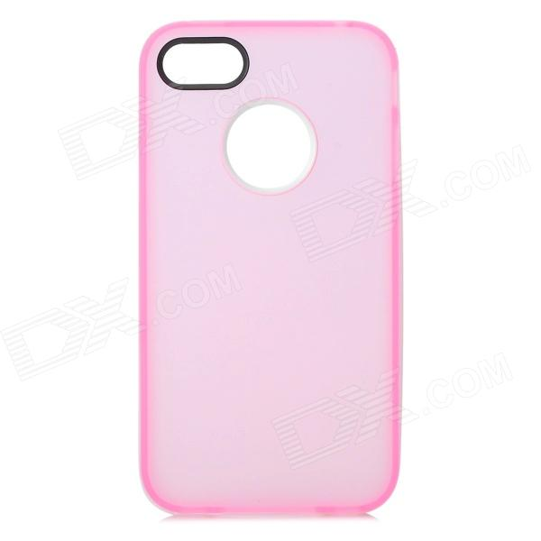 S-What Protective Matte TPU + PC Back Case for IPHONE 4 / 4S - Translucent Pink + White
