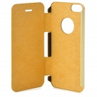 QUICKMAN 2N1-1 Protective Flip Open Aluminum Alloy + PU Leather Case for IPHONE 5 / 5S - Golden