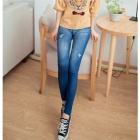 Polyamide Blended Jeans Legging for Women - White + Blue (M)