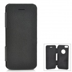 Protective Wiredrawing Flip-open Aluminum Alloy + PU Leather Case for IPHONE 5 / 5S - Black