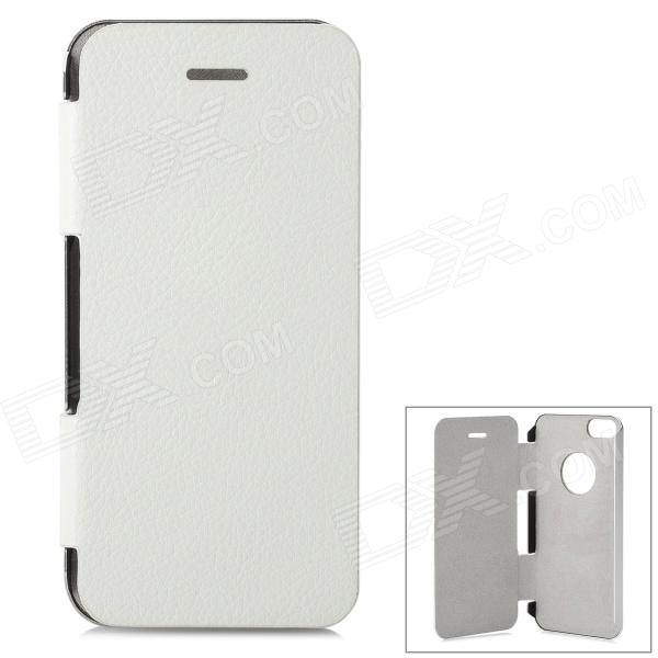 2N1-1 Protective Flip Open Aluminum Alloy + PU Leather Case for IPHONE 5 / 5S - Silver + White
