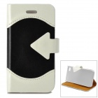 ZYEY-152 PU + Plastic Protective Flip Open Case w/ Stand / Card Slot for IPHONE 4 /4S