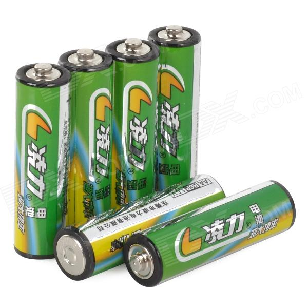 LingLi R6P Disposable Alkaline AAA Batteries Set - Dark Green + Yellow (6 PCS)