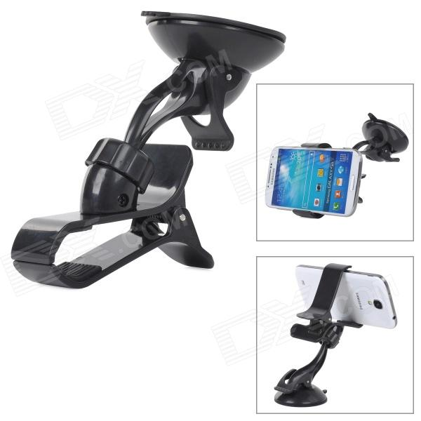 360 Degree Rotational Car Mount Holder Clip w/ Suction Cup for Cell Phone / GPS - Black 360 degree rotational car mount holder w suction cup for samsung galaxy note 3 n9000 n9002
