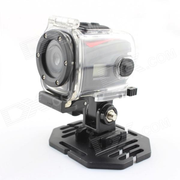 HD 720P Mini Sports DV 1.3 MP CMOS Water Resistant Camera - Black + Red