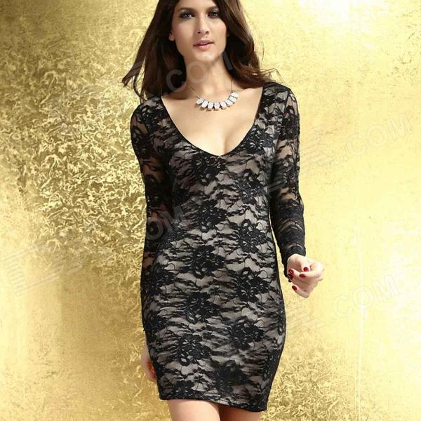 Winter Lace Embroidered Long-sleeved V-neck Sexy Halter Dress - Black