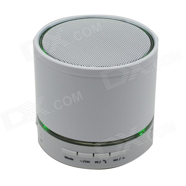 S12 Portable 3W Bluetooth V3.0 Stereo Speaker w/ Mic / 3.5mm Jack / TF / FM - White gl 2 portable rugby shaped wireless bluetooth v2 1 speaker w fm tf card slot white black
