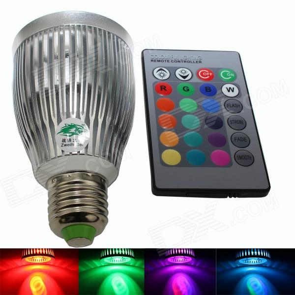 Zweihnder WMX17 E27 7W 420lm LED RGB Light Bulb w/ Remote Control - White + Silver (AC 85~265V) jr led e27 10w 500lm led rgb light bulb w remote control white silver ac 85 265v