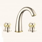 YDL-F-0535 Contemporary Widespread Two Handles Chrome Finish Bathroom Sink Faucet - Golden + Silver