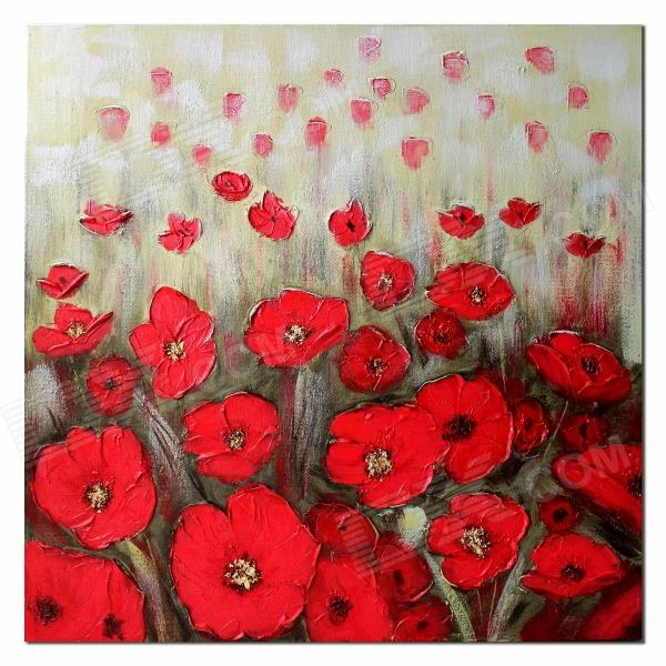 Iarts DX109-01 Handmade Red Flower Landscape Oil Painting - Multicolored