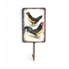 XLH2409 Creative Hand Paint Cock Pattern Retro Processing Single Hook - Multicolored