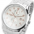 BARIHO Y542 Zinc Alloy Casing Stainless Steel Wristband Sports Quartz Wrist Watch - White + Silver