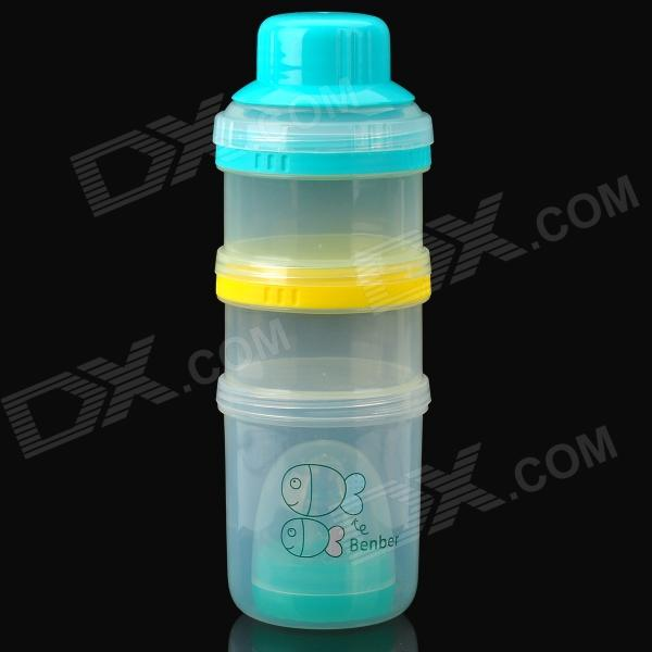 Bain treasure 7692 Multifunctional PP Feeding Bottle w/ Milk Powder Boxes - Transparent + Blue