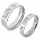 SHIYING jz068 Lovers' 316L Stainless Steel Finger Rings - Silver + Translucent White (Pair)