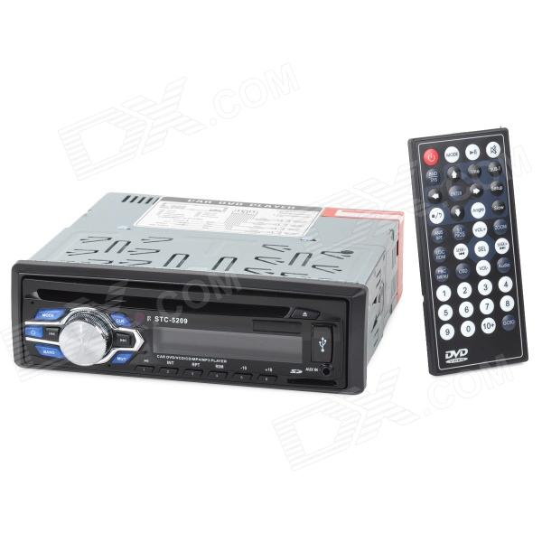 STC-5209 1 Din Car DVD AUX Multimedia Player w/ SD / FM - Black (16GB Max.) 1563u 1 din 12v car radio audio stereo mp3 players cd player support usb sd mp3 player aux dvd vcd cd player with remote control