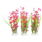 E4XY Aquarium Decorative Lifelike Artificial Water Plants - Red + Green (3 PCS)