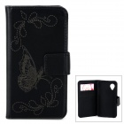 Butterfly Pattern PU Leather Flip-Open Case w/ Card Slots / Stand for LG Nexus 5 - Black