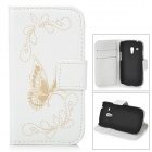 Butterfly Pattern PU Leather Flip-Open Case for Samsung Galaxy S3 mini i8190 / i9160 - White