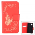 Butterfly Pattern Flip-Open PU Leather Case w/ Card Slots / Stand for LG Nexus 5 - Red