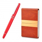 HERO 909 Black Ink Pen + Business Card Case Set - Red + Brown