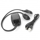 USB-9 USB Powered Double Head Book Clip Flexible Reading Lamp - Black (3 x AAA)