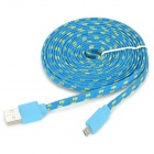USB 2.0 to Micro USB Data/Charging Woven Mesh Cable for Sony L39h Xperia Z1 / Xperia i1 - Blue