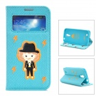 ROCK Boy Style Protective PU Leather Case w/ Display Window for Samsung Galaxy S4 - Blue