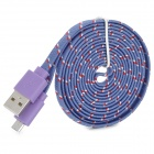 USB 2.0 to Micro USB Data Charging Woven Mesh Nylon Cable - Purple