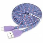 USB 2.0 to Micro USB Data/Charging Woven Mesh Nylon Cable for Samsung S3 i9300 / S7562 - Purple