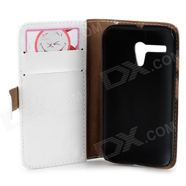 Protective PU Leather Case w/ Card Holder Slots for MOTO G - White