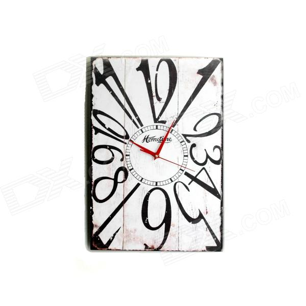 XLH24134 Wooden Retro Home Furnishing Wall Clock w/ Big Number - Black + White (1 x AA)