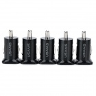 Dual-USB Car Charger Adapters - Black (12~24V / 5PCS)