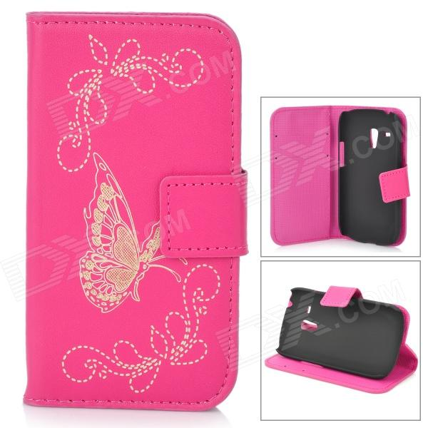 Butterfly Pattern PU Leather Flip-Open Case for Samsung Galaxy S3 mini i8190 / i8160 - Deep Pink butterfly bling diamond case