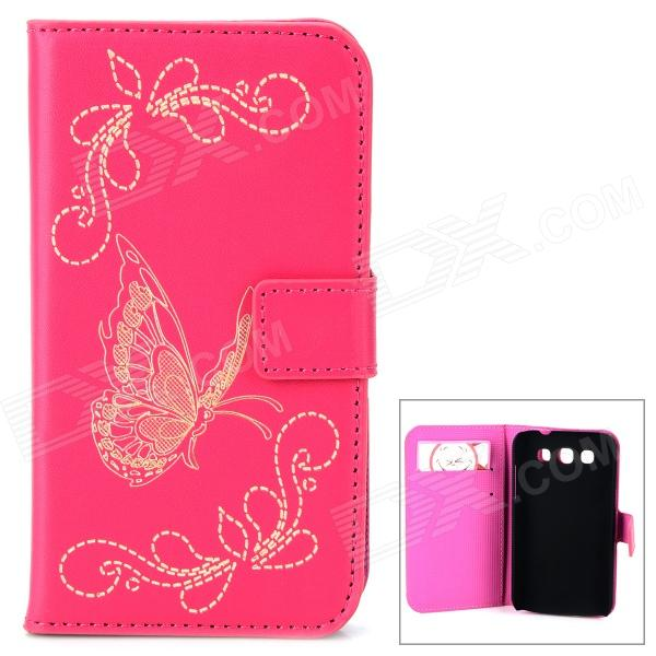 Butterfly Pattern PU Leather Flip-Open Case w/ Card Slots for Samsung Galaxy Win i8552 - Deep Pink butterfly bling diamond case