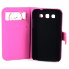Butterfly Pattern PU Leather Flip-Open Case w/ Card Slots for Samsung Galaxy Win i8552 - Deep Pink