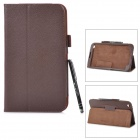 Protective PU Leather Case w/ Stylus for Samsung Galaxy Tab 3 / T311 / T310 - Brown