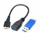 USB 3.0 Female to Micro USB 3.0 Male OTG Cable w/ Adapter - Black + Blue (50cm)