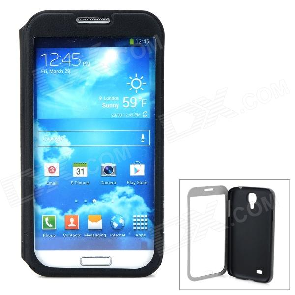 где купить Protective Flip-Open PU Leather Case for Samsung Galaxy S4 / i9500 - Black + Transparent дешево