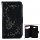 Butterfly Pattern PU Leather Flip-Open Case w/ Card Slots for Samsung Galaxy Win i8552 - Black
