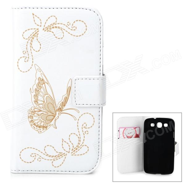 Butterfly Pattern PU Leather Flip-Open Case w/ Card Slots for Samsung Galaxy Win i8552 - White butterfly pattern pu leather flip open case w card slots for samsung galaxy win i8552 white