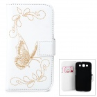 Butterfly Pattern PU Leather Flip-Open Case w/ Card Slots for Samsung Galaxy Win i8552 - White