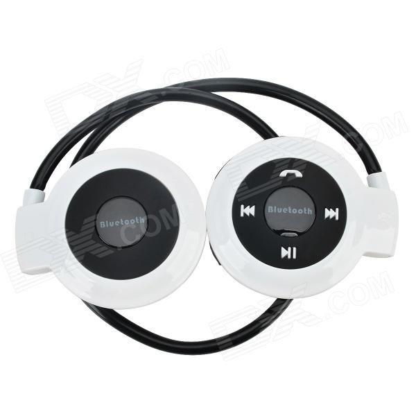 Mini-503 Bluetooth V2.1 Stereo Headset w/ Microphone - White + Black sport mp3 player bluetooth headset with fm tf slot black red 15 hour talk 200 hour standby