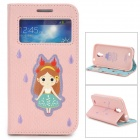 ROCK Girl Style Protective PU Leather Case w/ Display Window for Samsung Galaxy S4 - Pink