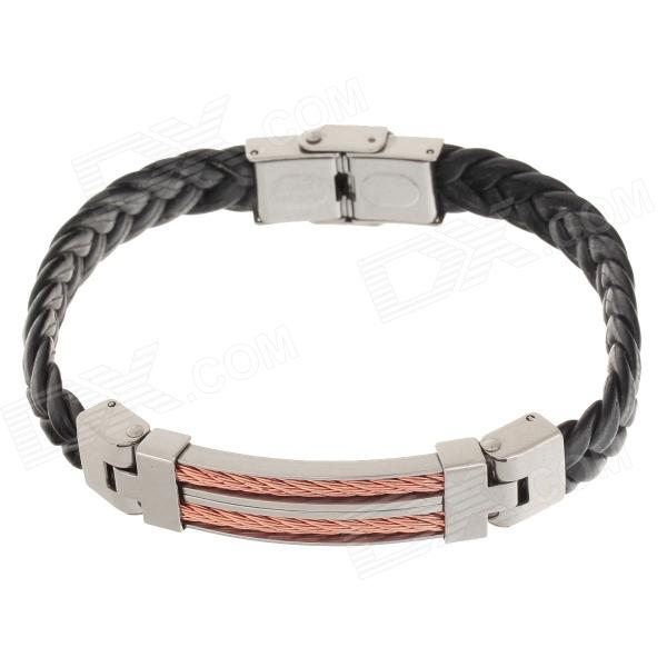 Decompression Anion PU Leather Non-Allergy Bracelet - Silver + Black + Coppery decompression anion pu leather non allergy bracelet silver black coppery