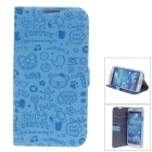iPai HY3328 Stylish PU Leather Case Cover Stand for Samsung Galaxy S4 i9500 w/ Auto Sleep - Blue