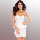 Strapless V-Neck Sexy Punk Dress - White (L)