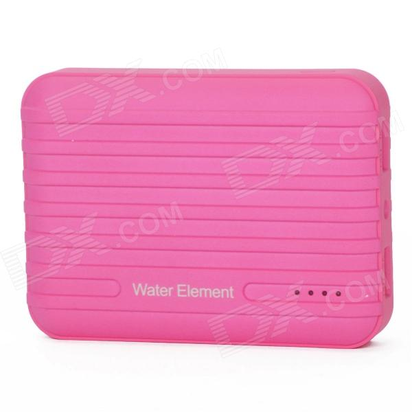 Water Element A10 10400mAh Dual USB Portable Power Source Bank w/ Flashlight - Deep PinkMobile Power<br>Form ColorDeep PinkBrandWater ElementModelA10MaterialPlasticQuantity1 DX.PCM.Model.AttributeModel.UnitBattery TypeLi-polymer batteryCompatible ModelsMost of devices with 5V USB port, such as iPhone, iPod, MP3, MP4, PSP, GPS, digital cameras.Nominal Capacity10400 DX.PCM.Model.AttributeModel.UnitBattery Measured Capacity 9000 DX.PCM.Model.AttributeModel.UnitCapacity Range10001mAh~15000mAhInput Voltage5 DX.PCM.Model.AttributeModel.UnitOutput Current1 &amp; 2 DX.PCM.Model.AttributeModel.UnitOutput Voltage5 DX.PCM.Model.AttributeModel.UnitOther Features4 x LED Blue Power indicator<br>1 x LED Flashlight (White)<br>Interface: 1 x micro USB input port, 2 x USB2.0 output port<br>Charging time: 7~8 hoursPacking List1 x Power Bank1 x USB charging cable (23cm)1 x English &amp; Chinese user manual<br>
