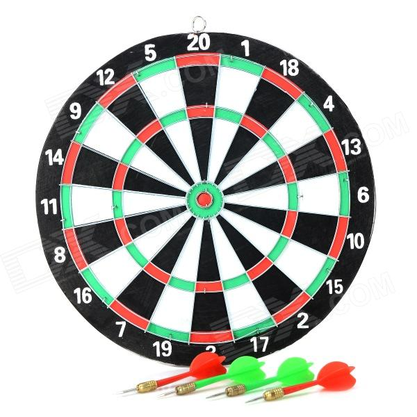 Wall Mounted Holz + Eisen Dart w / 4 Darts - White + Black